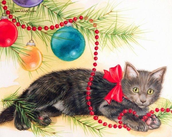 Adorable chaton... Tableau de Jane Maday trouvé chez Mumu