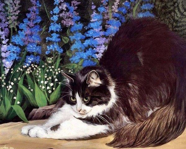 Un adorable chat chez Mumu - Tableau de Persis Clayton Weirs